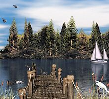 Old Rickety Boat Dock by Walter Colvin