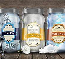 """Soul Purpose"" Collection: Trio Jars / Hope© Wish© Dream© by soaringanchor"