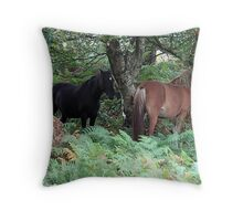 New Forest Ponies of Hampshire England Throw Pillow