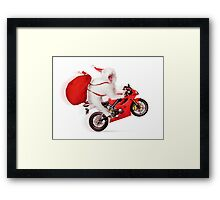 Cute kitty Santa on motorcycle with bag of Christmas presents Framed Print