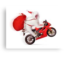 Cute kitty Santa on motorcycle with bag of Christmas presents Canvas Print