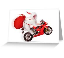 Cute kitty Santa on motorcycle with bag of Christmas presents Greeting Card