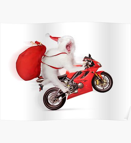Cute kitty Santa on motorcycle with bag of Christmas presents Poster