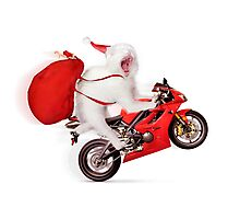 Cute kitty Santa on motorcycle with bag of Christmas presents Photographic Print