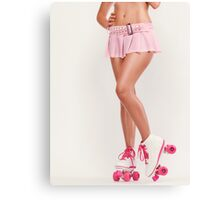 Sexy Girl Wearing Pink Roller Skates art photo print Canvas Print