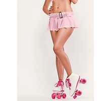 Sexy Girl Wearing Pink Roller Skates art photo print Photographic Print