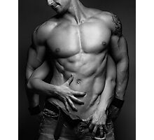 Woman hands touching muscular man's body art photo print Photographic Print