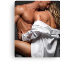Woman Embracing a Muscular Man art photo print Canvas Print