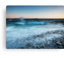 Waves hitting the shore of Georgian Bay art photo print Canvas Print