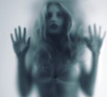 Blurred young woman silhouette behind glass art photo print by ArtNudePhotos