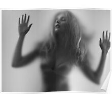 Beautiful young woman trapped behind glass art photo print Poster