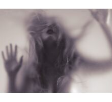 Dramatic photo of woman blurred silhouette behind hazy glass art photo print Photographic Print
