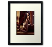 Beautiful sexy black woman near a window art photo print Framed Print
