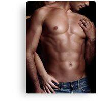 Sexy couple Woman behind man with sexy muscular bare torso art photo print Canvas Print
