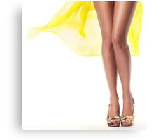 Sexy woman legs with yellow dress flying behind art photo print Canvas Print