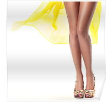 Sexy woman legs with yellow dress flying behind art photo print Poster