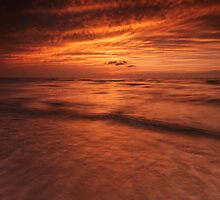 Dramatic red sky over lake Huron sunset scenery art photo print by ArtNudePhotos