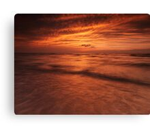 Dramatic red sky over lake Huron sunset scenery art photo print Canvas Print