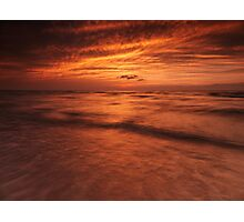 Dramatic red sky over lake Huron sunset scenery art photo print Photographic Print