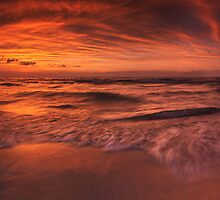 Colorful dramatic sunset over lake Huron panorama art photo print by ArtNudePhotos