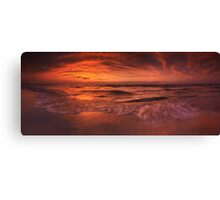Colorful dramatic sunset over lake Huron panorama art photo print Canvas Print