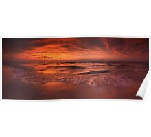 Colorful dramatic sunset over lake Huron panorama art photo print Poster
