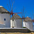 Windmills of Mykonos by Barbara  Brown