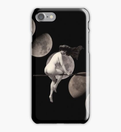 Moon Phases with Flying Vintage Witch iPhone Case/Skin