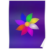 Colorful Flower in Space Art Poster