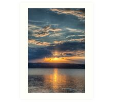 Sundown over an lake Art Print