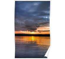 Sundown over an lake Poster