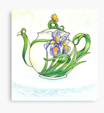 Iris Teapot Canvas Print
