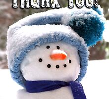 Happy Handmade Snowman - Thank You by MoMoCards