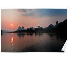 Li River Cruise & The Harst Mountain Range. Yangshuo, China. Poster