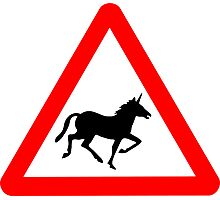 Unicorn Road Sign Photographic Print