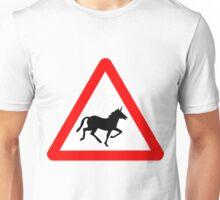 Unicorn Road Sign Unisex T-Shirt