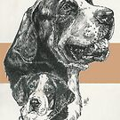 Greater Swiss Mountain Dog Father & Son by BarbBarcikKeith