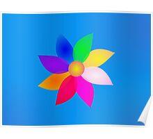 Simple Flower Art Blue Poster