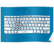Photoshop Keyboard Shortcuts Blue Poster