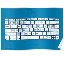 Photoshop Keyboard Shortcuts Blue Tool Names Poster