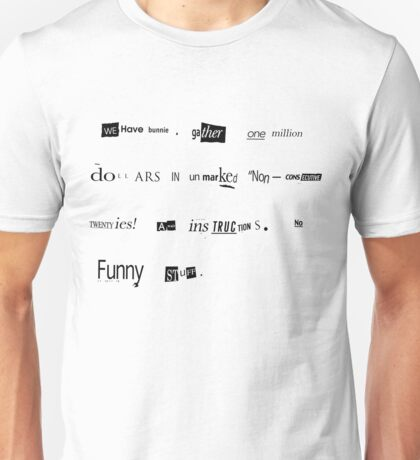 The Big Lebowski Bunny ransom letter Limited Edition Print T-Shirt