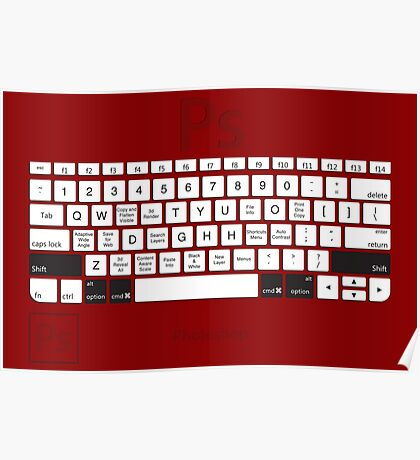 Photoshop Keyboard Shortcuts Red Opt+Shift+Cmd Poster