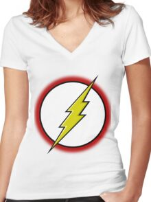 Flash Logo Women's Fitted V-Neck T-Shirt