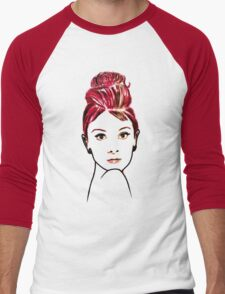 audrey hepburn drawing Men's Baseball ¾ T-Shirt
