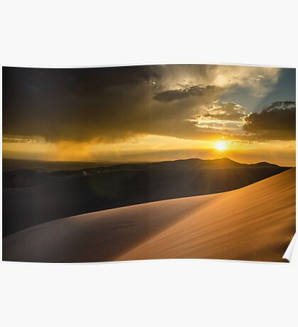 Sunset Over San Luis Valley - Great Sand Dunes National Park, Colorado Poster