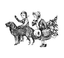 Victorian Children Bringing Home A Christmas Tree For An Old Fashioned Christmas by digitaleclectic