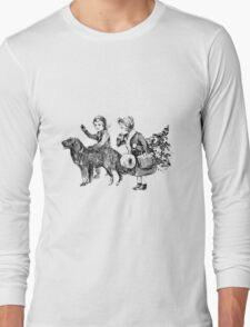 Victorian Children Bringing Home A Christmas Tree For An Old Fashioned Christmas Long Sleeve T-Shirt