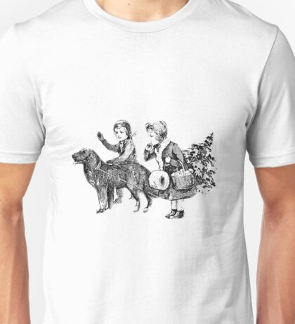 Victorian Children Bringing Home A Christmas Tree For An Old Fashioned Christmas Unisex T-Shirt