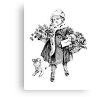 Victorian Child At Christmas Time. Christmas Presents For Christmas Past Canvas Print