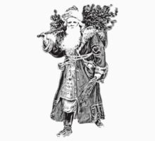 Victorian Santa Brings Christmas Presents and Christmas Trees in Christmas Long Ago. Kids Clothes